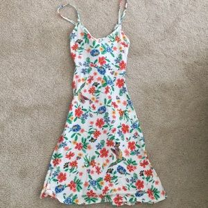 Floral and Bird Patterned spaghetti strap dress